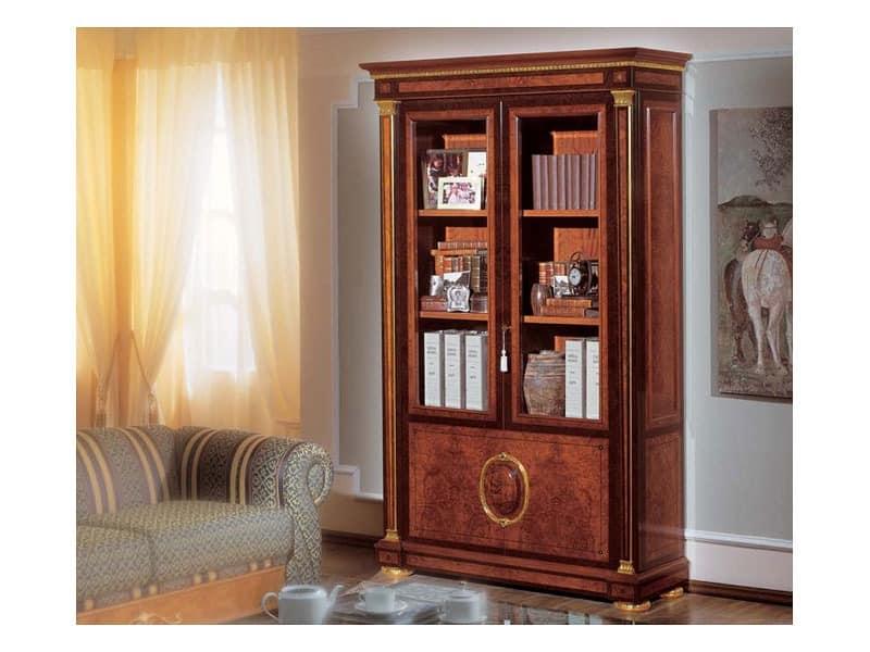 IMPERO / Bookcase with 2 doors, Bücherregal aus Maser Asche, Luxus klassischen Stil