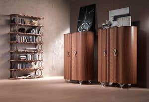 LB31 Mistral Bücherregal, Bibliothek furnierten Walnuss, Bronze-Halterungen