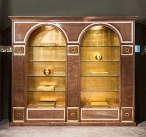 LB34 Bücherregal, Klassischer Bücherschrank mit zwei Bögen, mit Glasböden
