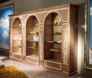 LB35 Bücherregal, Klassische lusury Bücherregal mit Glasböden
