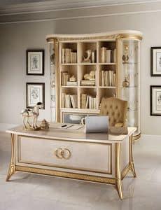 Melodia Bücherregal, Bücherschrank im klassischen Stil, mit Glastüren und Regale