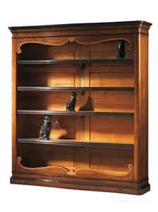 Perugino ME.0932.H, Walnut Bibliothek eingelegt mit 4 verstellbaren Fachböden, für klassische Umgebungen