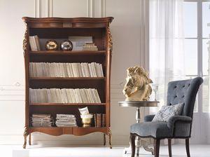 Venere Bücherregal, Bibliothek mit Blattgoldschnitzereien verziert