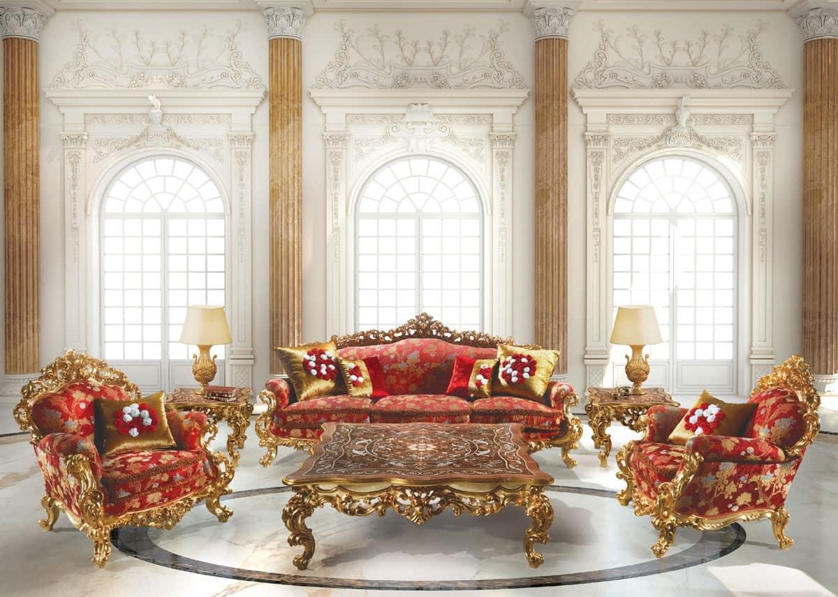248 Living room, Barock Sessel, in Holz, für Suite Hotel