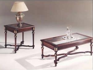 3045 COUCHTISCH, Rechteckige Tische mit Glasplatte, klassischen Stil