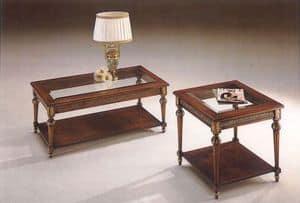 2945 Couchtisch, Klassische Couchtisch aus Holz mit Glasplatte