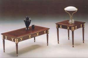 2825 RECTANGULAR COUCHTISCH, Klassische Couchtisch aus Holz geschnitzt, in Blattgold Finish