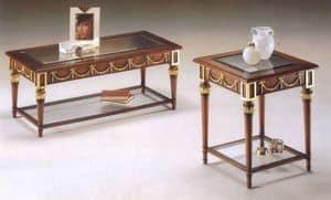 2575 Couchtisch, Klassische Couchtisch aus Holz, Glasplatte