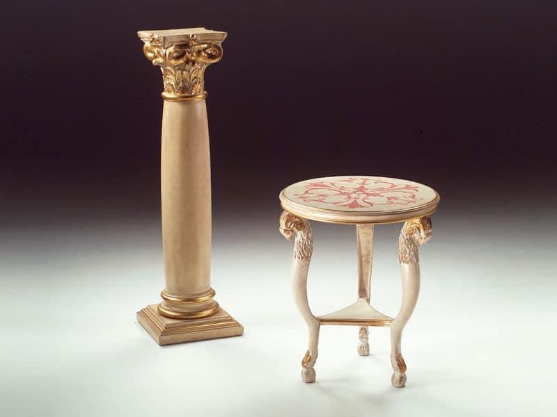 Art. 1460 Rams, Kleiner runder Tisch aus Holz, klassisch, für Wohnzimmer