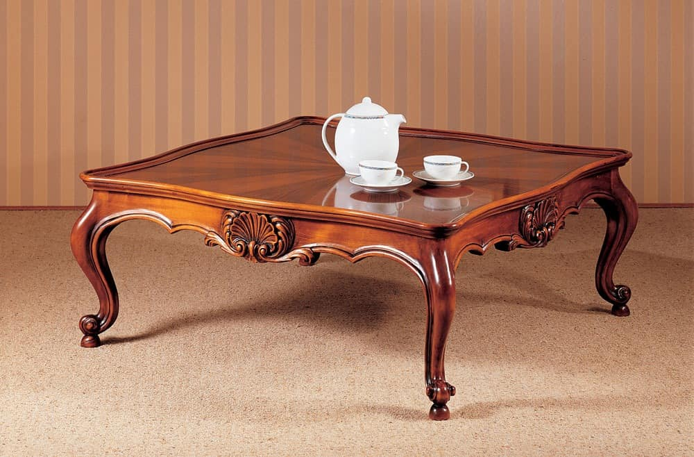 Art. 222/Q, Traditionelle Luxuskaffeetisch, sorgfältig geschnitzt, für Wohnzimmer