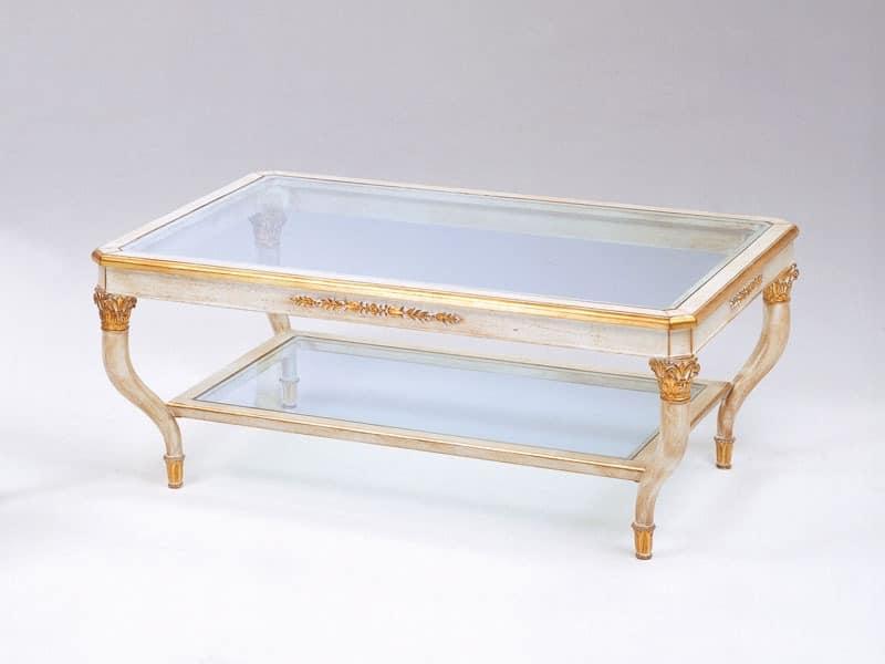 Art. 301 Mida, Luxus Couchtisch, handgeschnitzt, mit 2 Glasböden