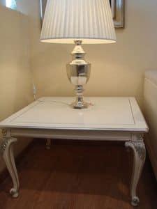 Art. 316, Couchtisch aus Holz für klassische Wohnzimmer, lackiert, Silber