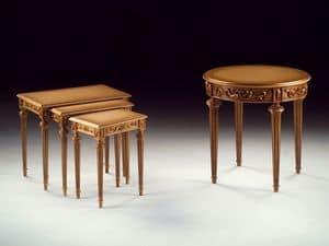 Art. 911 Decò round, Hand geschnitzt Luxus kleiner Tisch, für Hotelsuiten