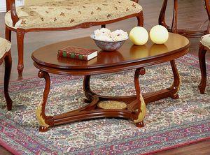 Brianza Couchtisch ovale Holzplatte, Ovaler Couchtisch
