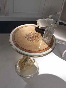 Chiocciola kleiner Tisch, Couchtisch mit Details aus Blattgold