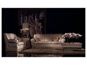 Cinzia Couchtisch, Niedriger Tisch mit dekorierten Beine, für klassische Büro