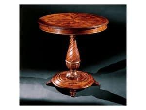 Complements side table 753, Round Beistelltisch aus Holz geschnitzt
