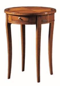 Tiziano FA.0139, Kleiner runder Tisch mit einer Schublade, handgefertigt