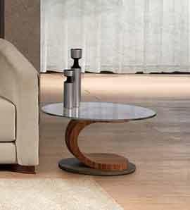 TL58 Mistral kleiner Tisch, Ovale Couchtisch aus Nussbaum, Glas und Stahl, mit Intarsien