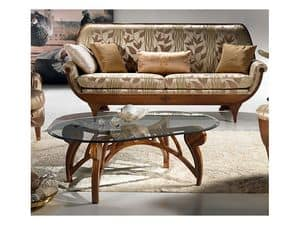 TL24 Le Spirali kleiner Tisch, Kaffeetisch, oval Kristall top, für Wohnzimmer
