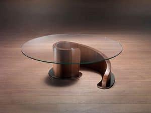 TL41 Minerva kleiner Tisch, Couchtisch aus Schichtholz, Glasplatte
