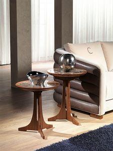 TL50 - TL51 Desyo kleiner Tisch, Couchtische mit runder Platte im klassischen Stil