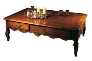 Toulon VS.5021, Rechteckiger Couchtisch aus Nussbaum, '700 provenzalischen Stil