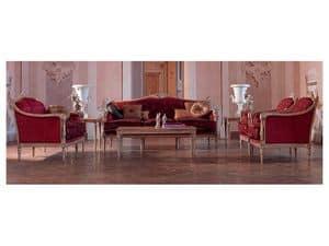 Veronica Couchtisch, Kaffeetisch elegant geschnitzt, Goldblatt, für das Wohnzimmer