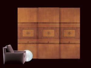 AR09 Floreale Kleiderschrank, Klassischer Kleiderschrank mit Schiebetüren, Innenbeleuchtung