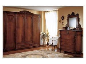 Art. 973 wardrobe closet '800 Siciliano, Antiken Stil Kleiderschrank mit 4 Türen, für Schlafzimmer