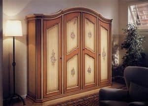 Avignone, Kleiderschrank im klassischen Stil, 4 Türen mit handgefertigten Dekorationen