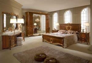 Donatello Kleiderschrank mit 6 Türen, Kleiderschrank mit neoklassizistischen Stil, Handgefertigte Schnitzereien und Intarsien