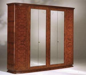 Flory Schrank, Ash olived mit 6 Türen und Spiegel Kleiderschrank