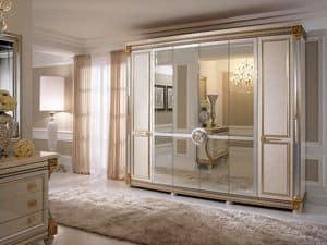 Liberty Kleiderschrank mit 6 Türen, Kleiderschrank im klassischen Stil, mit handgefertigten Dekorationen, made in Italy