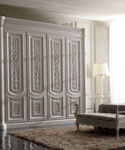 Luigi XVI Art. AR01/L/250, Heller Kleiderschrank aus Holz für Schlafzimmer im klassischen Stil
