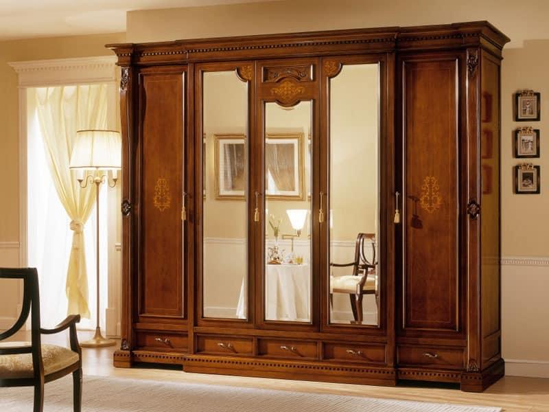 REGINA NOCE / 5 Türen Kleiderschrank (3 Türen zentralen Spiegel), Luxus-Garderobe mit 5 Türen, 3 mit Spiegel, um Hotels