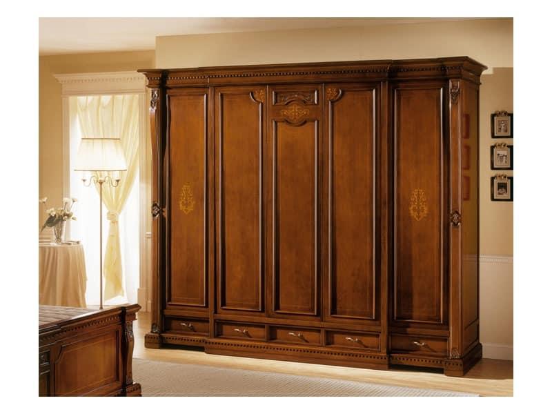 REGINA NOCE / Schrank 5-türig, Luxuriöse Garderobe mit 5 Türen, für klassische Villen