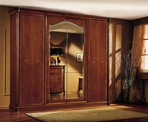 Roma Kleiderschrank, Luxus Kleiderschrank in Echtholz Nussbaum, mit Schnitzereien und Intarsien von Hand gemacht