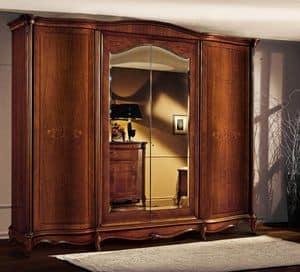 Roma Schrank mit gebogenen Türen, Holzgehäuse mit gebogenen Türen, in luxuriösen klassischen Stil