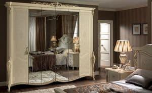 Tiziano Kleiderschrank, Klassischer Kleiderschrank 6 Türen, mit Spiegel, ideal für Schlafzimmer des Luxus