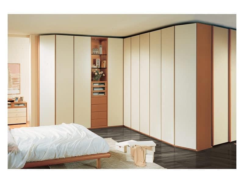 Wardrobe 26, Geräumiges Eck-Kleiderschrank für Schlafzimmer, sichtbare Elemente, lackiert Elfenbein Türen