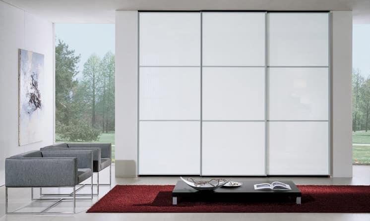 Wardrobe 90, Kleiderschrank mit Schiebetüren, Glas weiß lackiert, moderne und wesentlichen Design