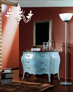 Arcobaleno Kommode, Klassische Kommode, hellblau lackiert