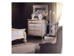 Art. 2001 chest of drawers, Klassische Kommode, wei� Finish auf Blattgold, f�r Luxus-Villen