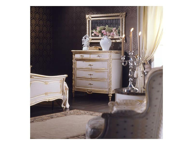 Art. 2001 chest of drawers, Klassische Kommode, weiß Finish auf Blattgold, für Luxus-Villen