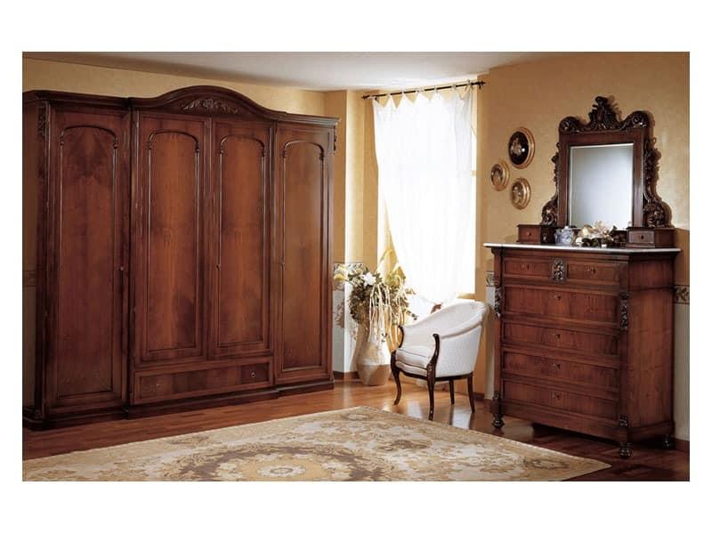 Art. 973 chest of drawers '800 Siciliano, Alten Stil Kommode mit Schubladen, in decored Holz, für Schlafzimmer