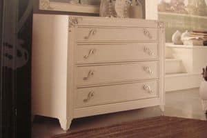 Art. IR092, Weiße Perle lackierte Kommode für Schlafzimmer