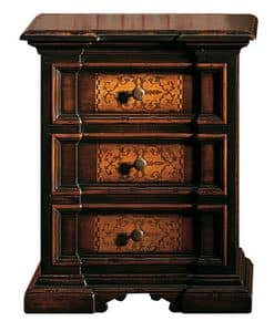 Cinigliano ME.0753, Nachttisch '700 Italienisch, mit Intarsien, für Hotels
