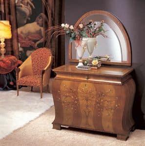 CO05 Floreale Kommode, Dresser in fester gebogene Holzkomponenten, Intarsien in verschiedenen Materialien