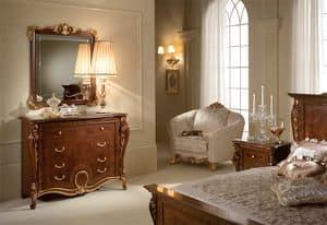 Donatello Kommode, Kommode aus Holz geschnitzt, luxuriöse neoklassizistischen Stil, für das Schlafzimmer